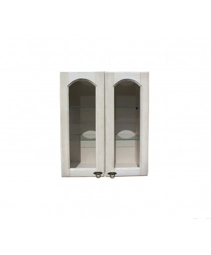 Шкаф настенный сушка с 2-мя стекл. дверками (600 мм) «Викинг GL» №22,белая патина