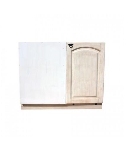 Шкаф-стол в угол (990 мм) Викинг GL (с полкой) №6,белая патина