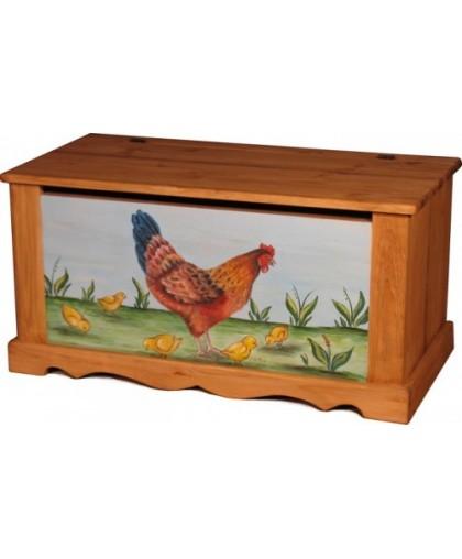 Сундук с росписью Курица с цыплятами голубой фон