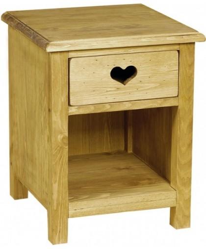 Тумбочка прикроватная 1 ящик с сердцем с нишей CHEVET 1T COEUR NICHE