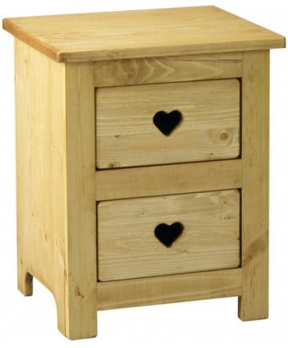 Тумбочка прикроватная 2 ящика с сердцем CHEVET 2T COEUR