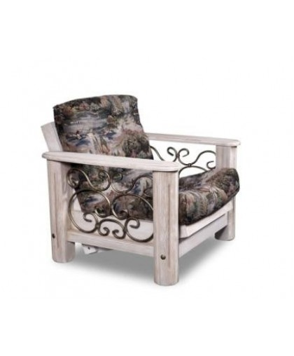 """Кресло """"Викинг 02"""" с кованными элементами,белое брашир."""